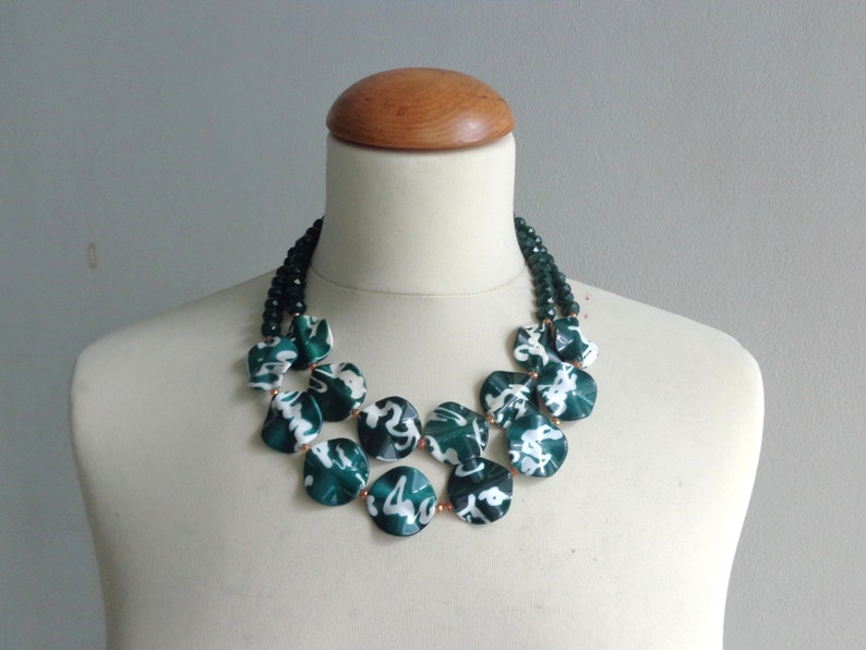 double strand chunky white green necklace statement style