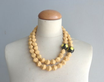 Yellow necklace, multi strand statement, Black yellow necklace