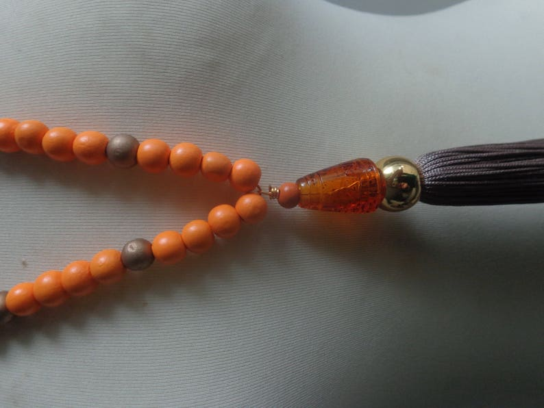 tribal necklace colorful necklace Orange brown tassel Statement necklace longer style