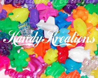 100 Mixte Pastel Couleur Acrylique Crâne Tête Pony Beads for Kids Kandi Craft