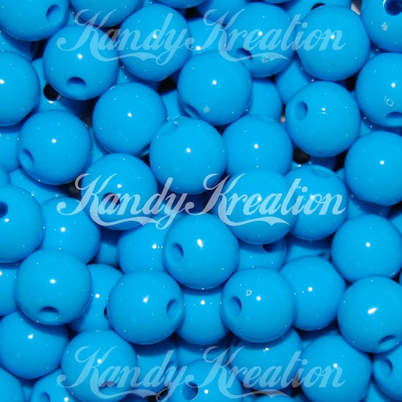 4 Light Blue Bow Beads 46mm for Bubblegum Necklaces Kandi Deco Resin Jewelry Kid
