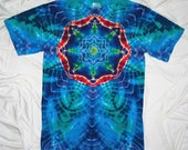 tye dye shirt, small mandala tie dye, gildan ultra cotton tee, tie dyed t shirt by GratefulDan