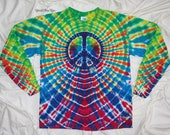 This is now Reserved for Deb Sherman, tie dyed, medium tie dyed peace sign, tye dye by grateful dan dyes, long sleeve gildan ultra cotton
