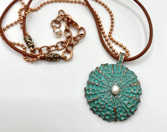 Sea Urchin copper necklace, ball chain with leather, adjustable lobster claw clasp 18-20 in, genuine pearl