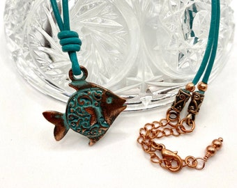 Angel fish copper necklace - genuine leather cord - copper chain - lobster clasp - adjustable 18-20 inches