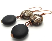 Long dangle EARRINGS black onyx - agate - chocolate freshwater pearls - copper - matching necklace and bracelet available