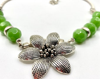 Apple green agate gemstone necklace-silver flower-white leather-large decorative clasp- One-Of-A-Kind