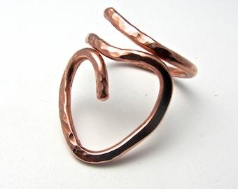Heart copper wire ring - original design - solid heavy copper wire
