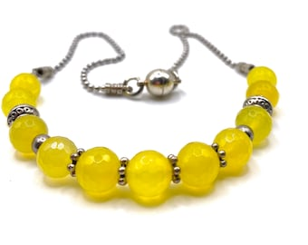 Lemon yellow faceted gemstone beaded necklace, silver ball chain, strong magnetic clasp, 18 inches long,