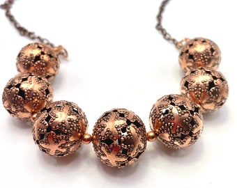Copper beaded necklace, Bold Statement, large beads, copper chain, magnetic clasp, ONE-OF-A-KIND