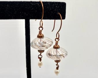 Blown glass dangle beaded earrings--copper--under 2 in--genuine pearls