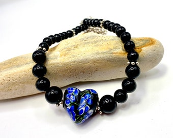Black onyx gemstone beaded necklace, handblown heart pendant, silver chain, magnetic clasp, 20inches long, One Of A Kind Necklace