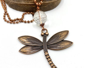 Dragonfly copper necklace, genuine faceted quartz crystal gemstone, copper ball chain, long necklace, 34 inches