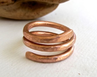 Solid copper hammered ring - Thick heavy wire handformed - have you tried wearing copper to help with arthritis