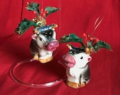 Upcycled Vintage Christmas Ornaments, OOAK, Cow Pitcher salt and pepper shaker ornaments. 50 s kitsch Farm Christmas