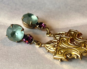 Art Deco earrings with Indian Sapphire matte glass drops and purple rhinestone accents