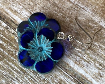 Large flower earrings, cobalt blue with green verdigris and sterling silver ear wires, 5 petal flower