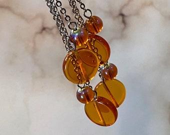 Amber bubbles dangle earrings