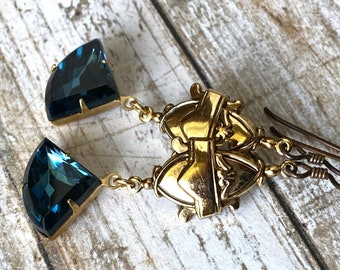 Art Deco dangle earrings with midnight blue fan shaped drops, antique gold finish