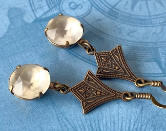 Matte glass Art Deco style dangle earrings, antique bronze finish