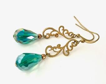 Filigree swirl earrings with iridescent emerald green  drops