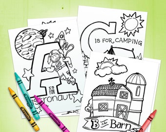 Alphabet Coloring Pages - Instant Digital Download - Kids Coloring Sheets - Printable Coloring Book - coloring for kids - E-Book