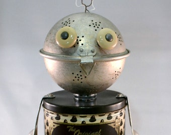 ROCCO, Assemblage Art Recycled Robot Sculpture, Cookie Lover and Robot
