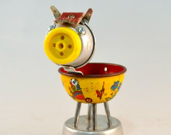 NOODLE the PONY, Assemblage Art Recycled Robot Sculpture, Found Object Horse