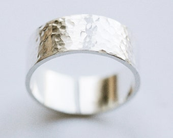 Hammered Silver Ring Wide Band