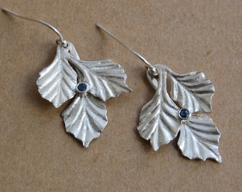 Silver Sapphire Earrings Three Leaf with Bezel Set Sapphires