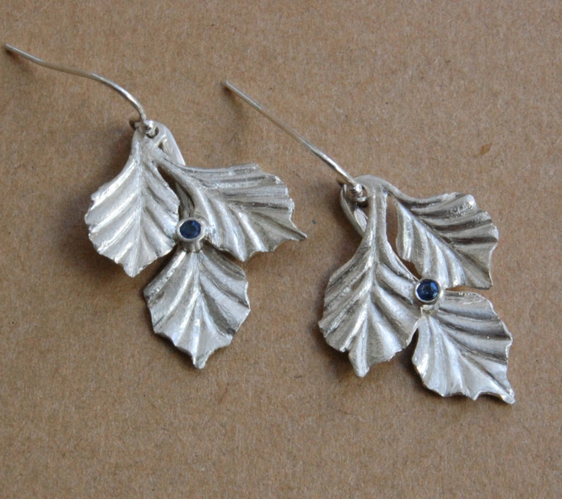 Silver Sapphire Earrings Three Leaf with Bezel Set Sapphires image 0