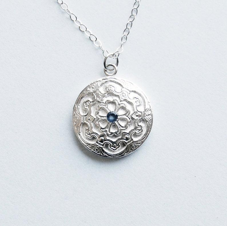 Sapphire Silver Pendant Classic Style Petite Necklace image 0