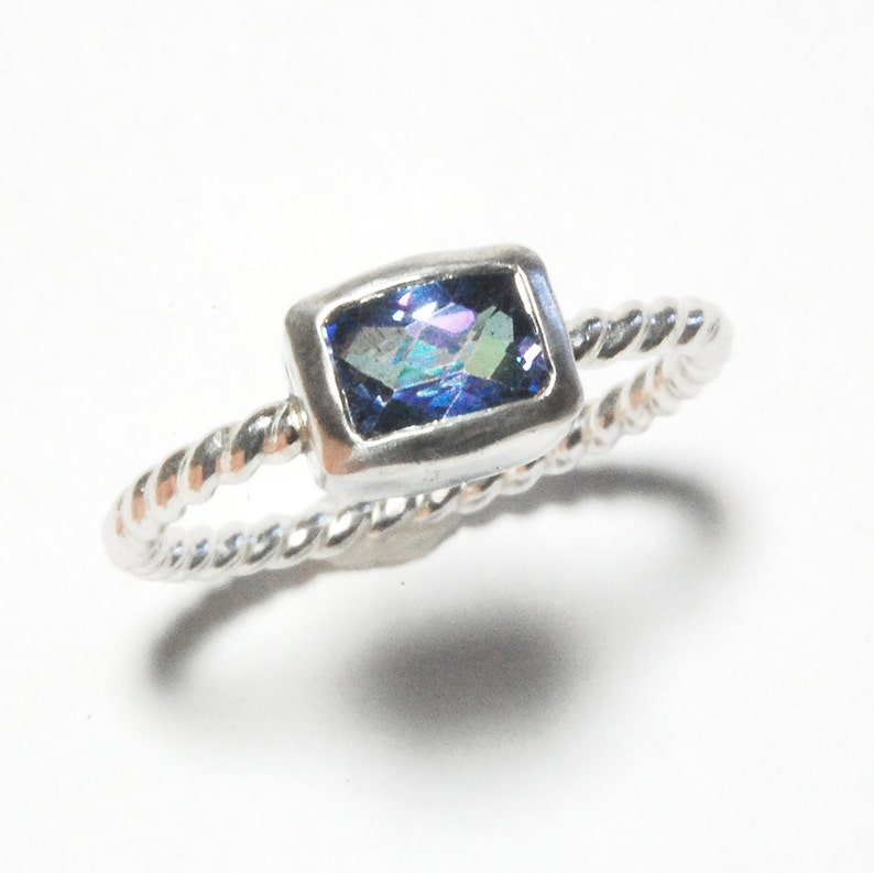 Cushion Topaz Ring with Silver Twist Band and Kashmir Blue image 0