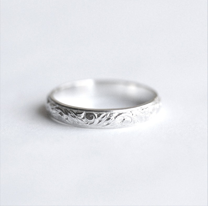 Silver Engravable Band Ring 3.5 mm wide silver band In Your image 0