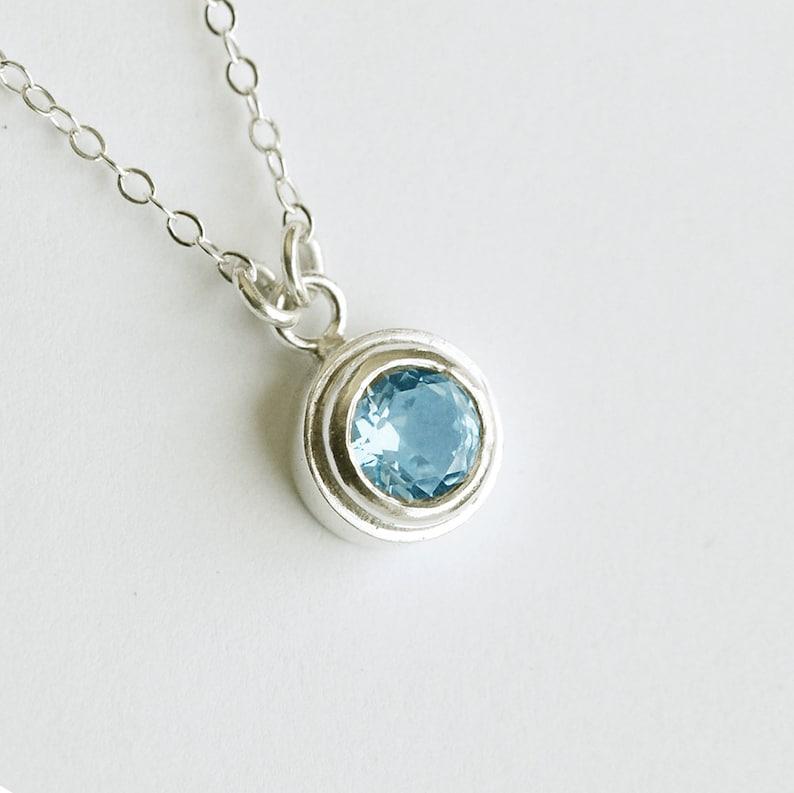 Blue Topaz Pendant in Sterling Silver Petite Bezel Set image 0