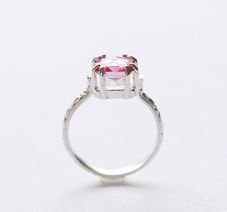 Cushion Topaz Ring with Pink Prong Set Topaz In Your Size image 0
