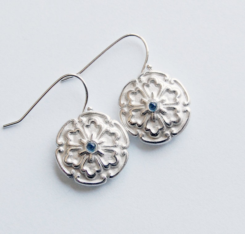 Silver Cabochon Earrings With Blue Lab Sapphires Drop Dangle image 0