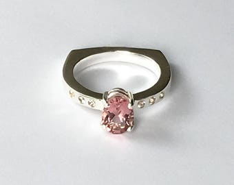 Pink Tourmaline Ring Prong Set with White Sapphire Accents Size 7