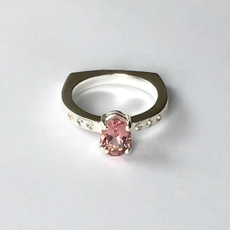 Pink Tourmaline Ring Prong Set with White Sapphire Accents image 0