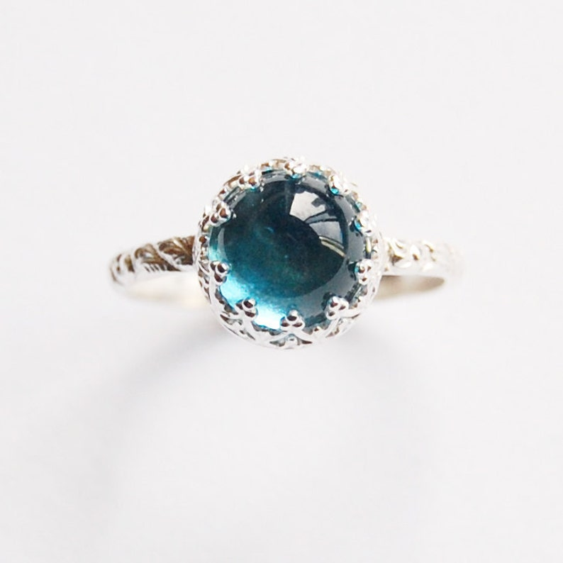 Topaz Cabochon Ring With Silver Gallery Setting In Your Size image 0
