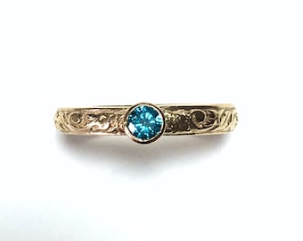 Gold and Blue Diamond 14K Wedding Engagement Any Occasion Ring (3.5 mm wide) In Your Size.  Engravable.