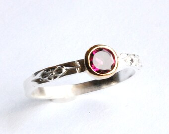 Tourmaline Ring Gold and Silver with Pink Gem Size 7 (Or any size -- See notes)