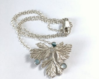 Blue Apatite Leaf Pendant Necklace Hand Chased in Sterling Silver