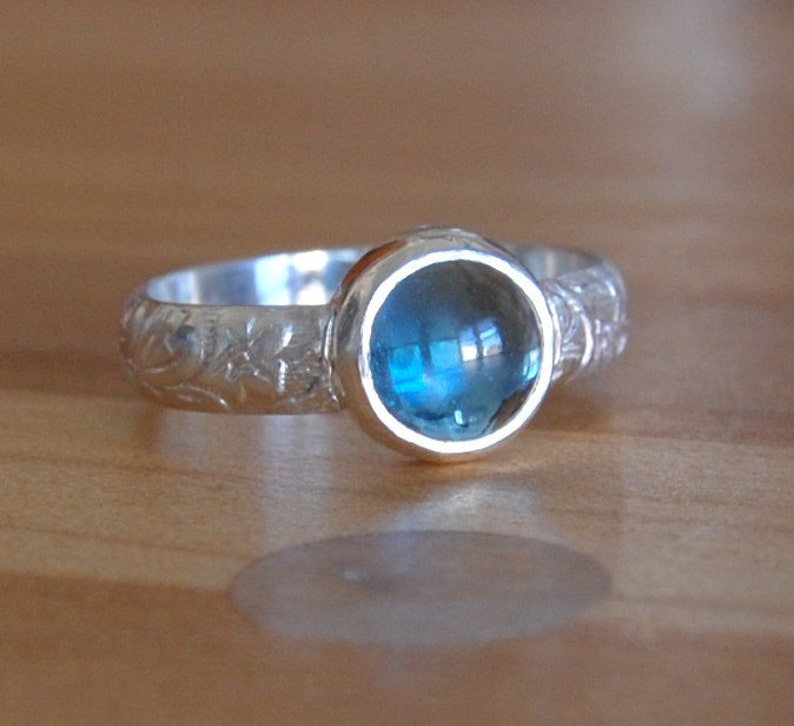 Topaz Cabochon Ring with Bezel Set Blue Topad in Your Size image 0