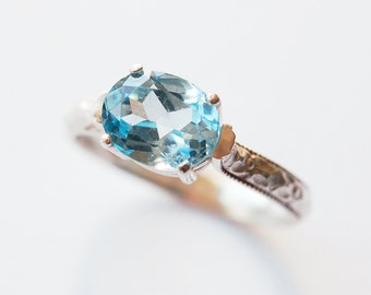 Blue Topaz Ring Prog Set Oval Size 7 1/2