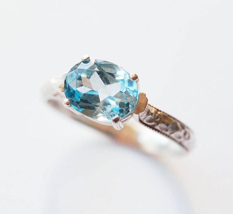 Blue Topaz Ring Prog Set Oval Size 7 1/2 image 0