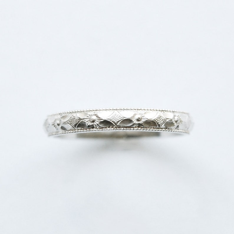 Silver Engravable Ring Petite and Stackable Band In Your Size image 0