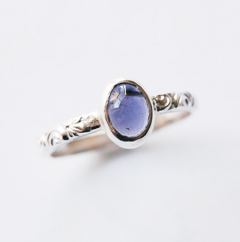 Silver Iolite Ring with Cabochon Size 5 3/4 image 0