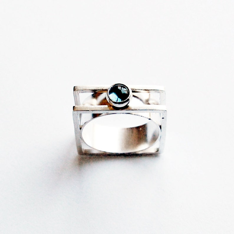 Handmade Cabochon Ring With London Blue Topaz Modernist Style image 0