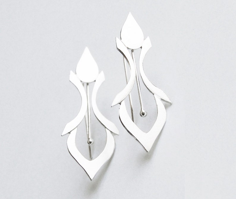 Handmade Silver Earrings in a Fleur De Lys Style image 0